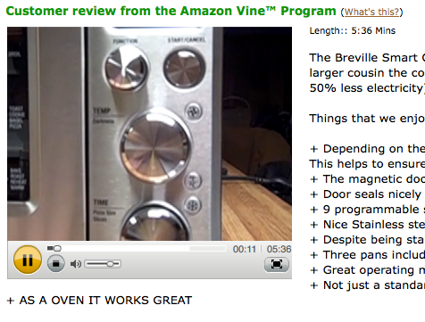 A customer video review of the Breville Smart Oven on Amazon