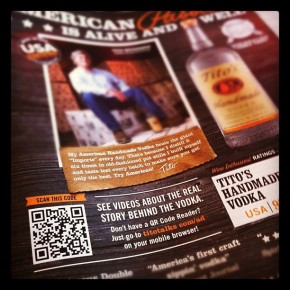 Tito's Vodka Ad with QR Codes